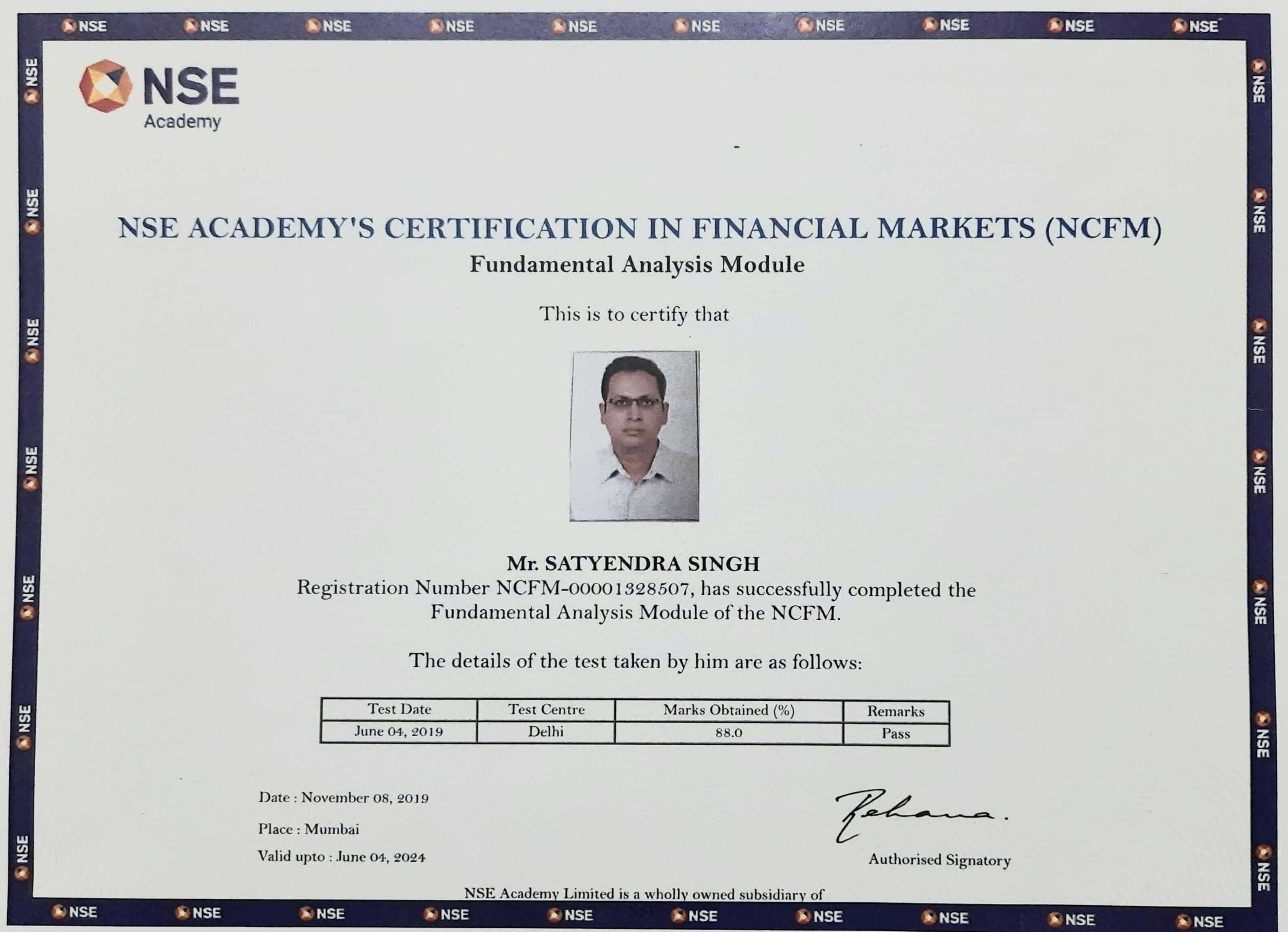Awarded with NCFM Fundamental Analysis Module