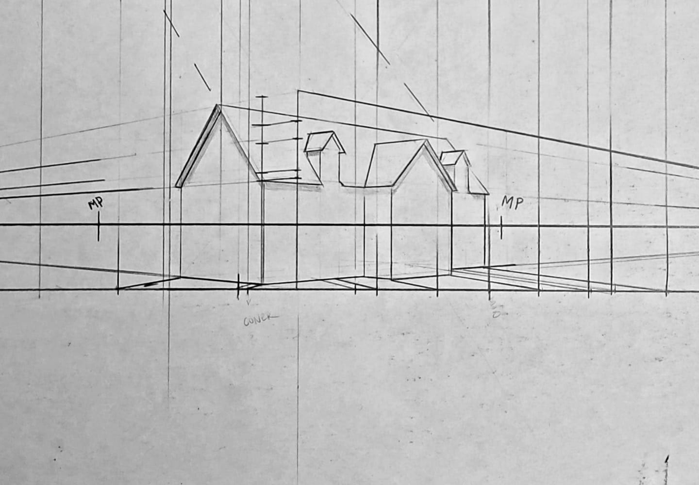 Image of one point perspective boxes receding to a vanishing point on the horizon line. Show some of the concepts to be taught in Kevin McCain's drawing classes on perspective drawing.