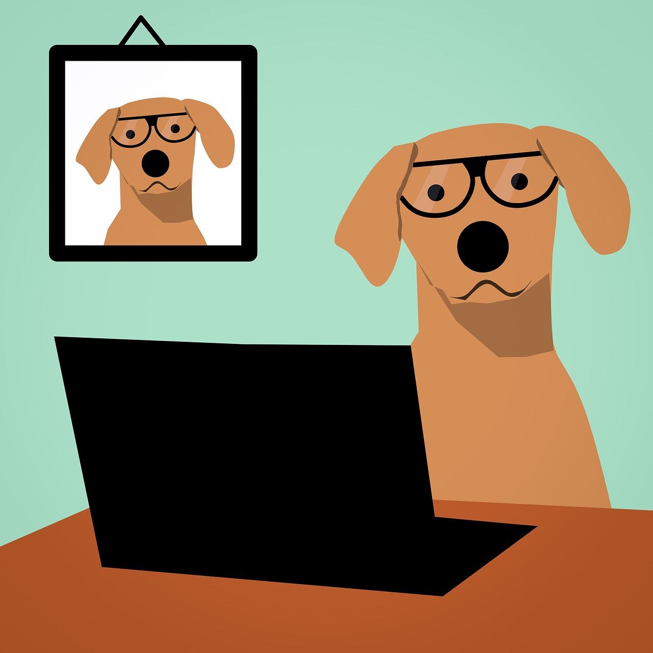 dog with reading glasses on computer sharing realtoughcandy.io affiliate program link
