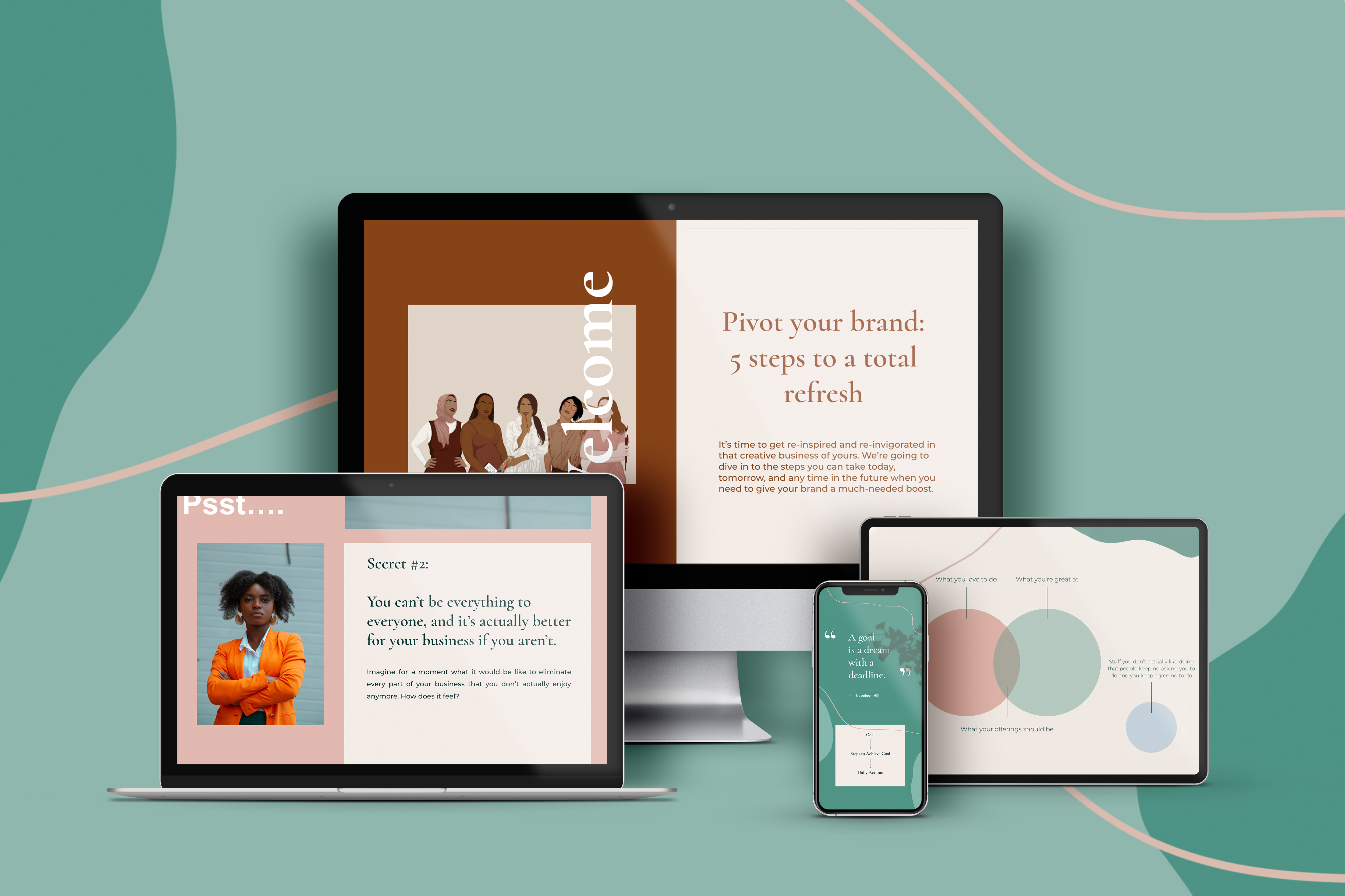 """A mockup of the content of the """"Pivot Your Brand"""" course on a different devices"""