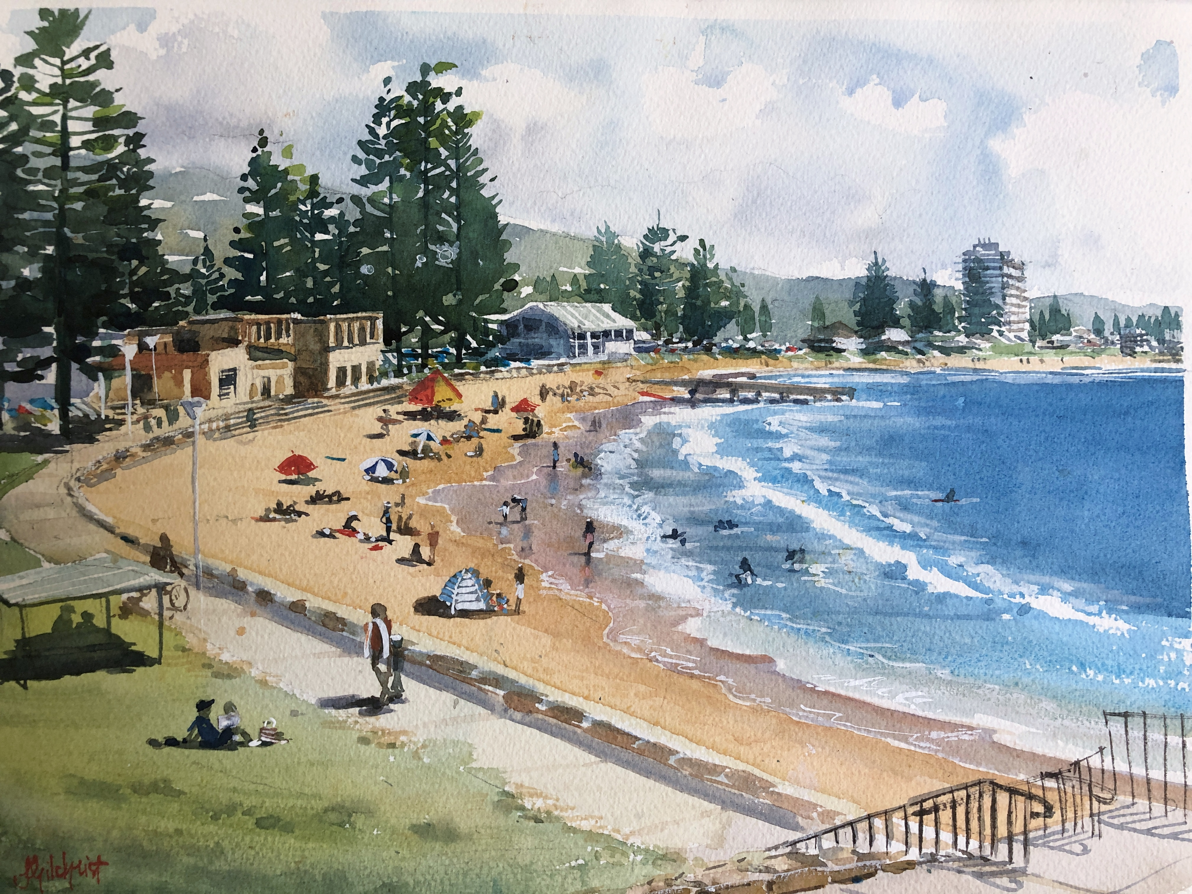 Watercolour Painting of Collaroy Beach by Jenny Gilchrist and Northern Beaches Watercolour Online Courses