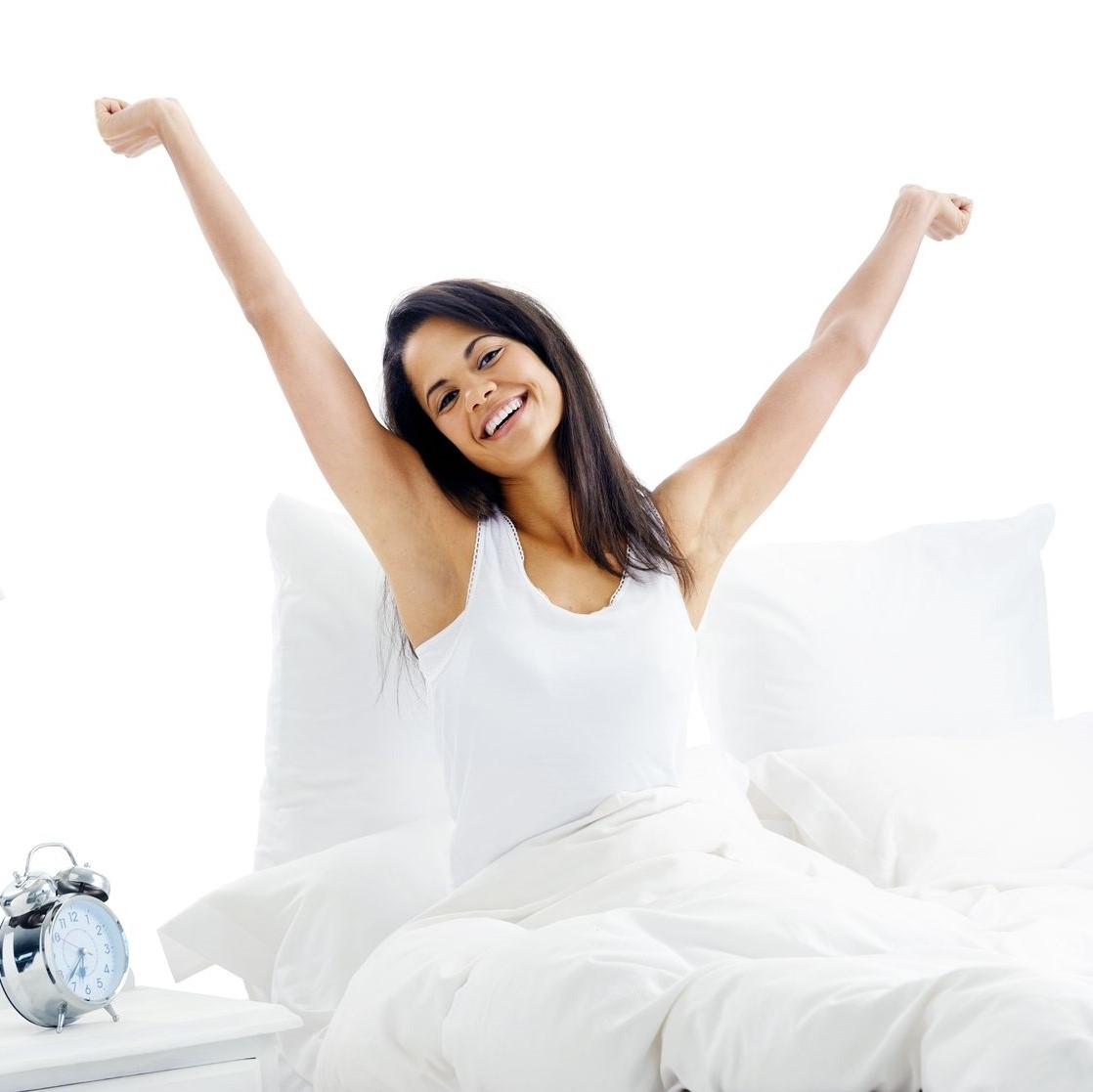 Refreshed mom from good sleep