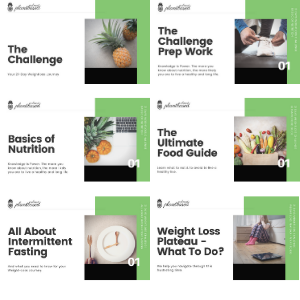 display of all content included in training. The Challenge & The Challenge Prep Work, Basics of Nutrition, The Ultimate Food Guide, All About Intermittent Fasting & How to overcome a weight-loss plateau