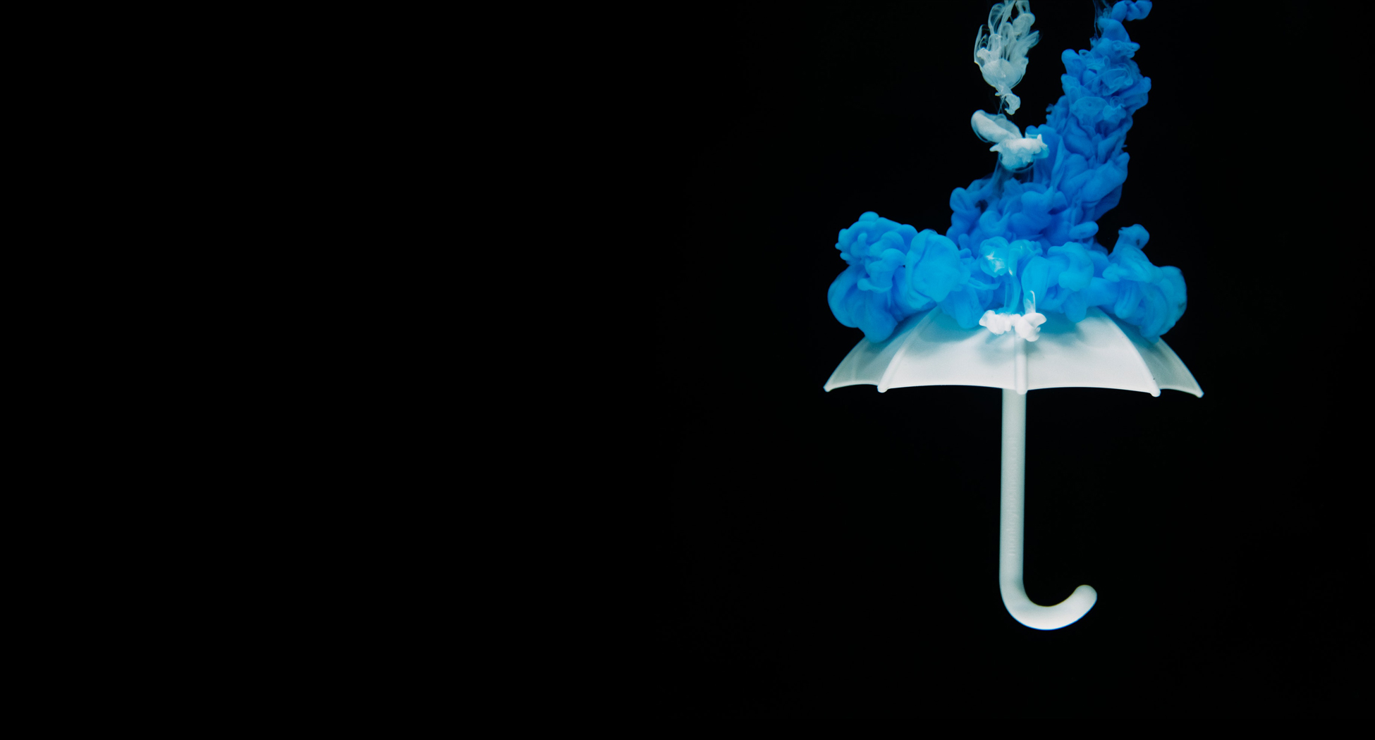photo of while umbrella with blue ink puffs on black background