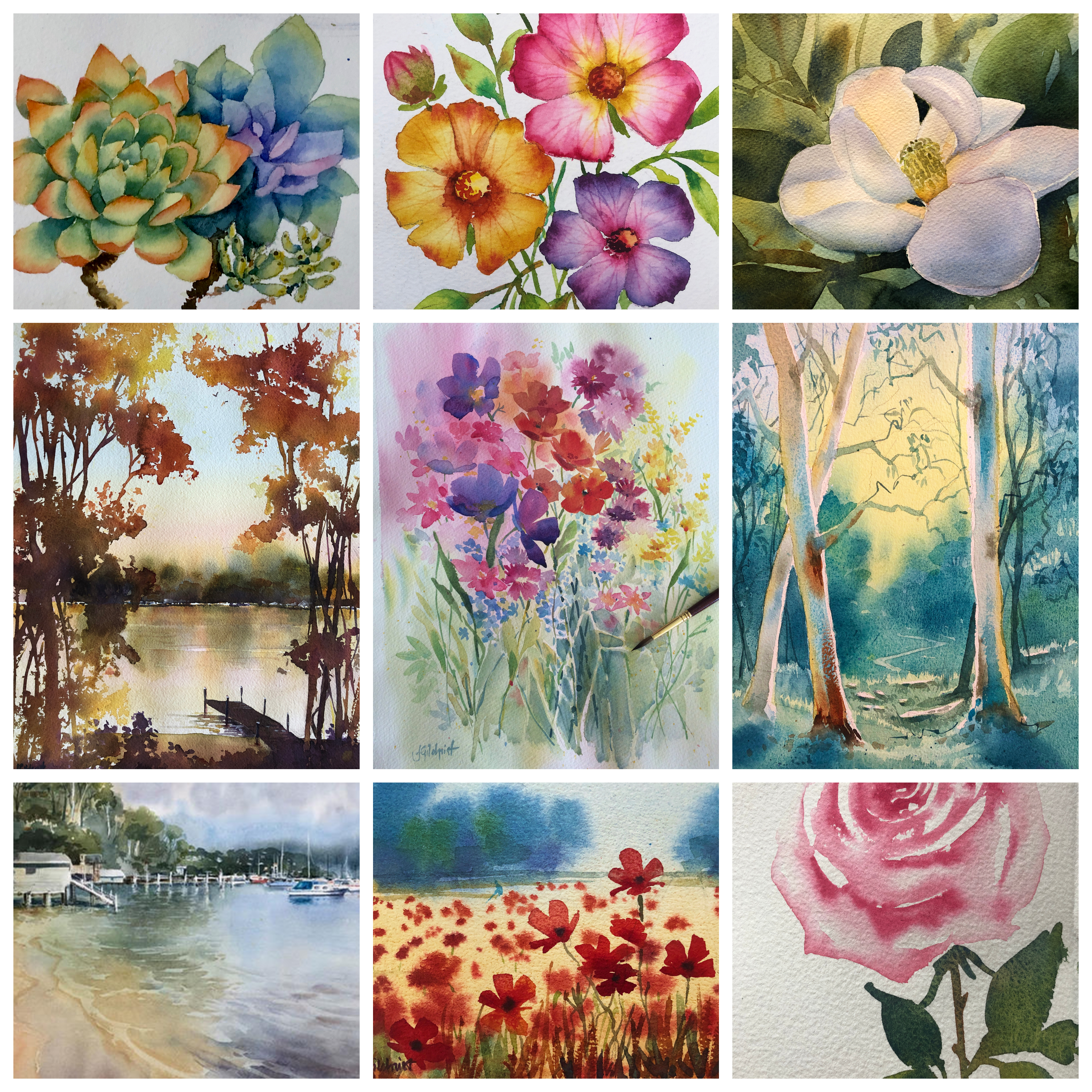 WAtercolour workshops for intermediate painters, online and on demand