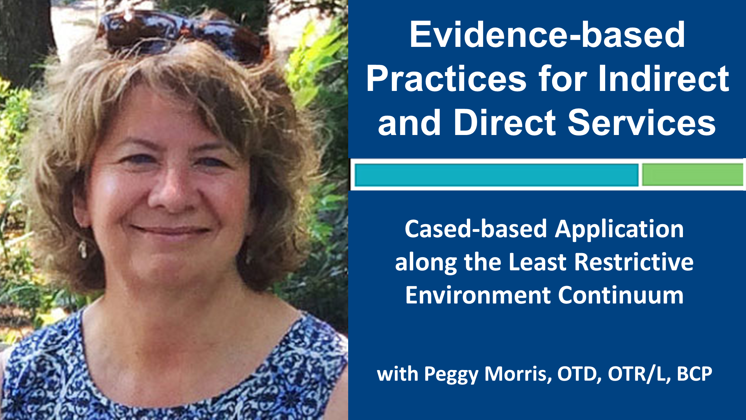 Evidence-based Practices for Indirect and Direct Services with Peggy Morris, OTD, OTR/L, BCP