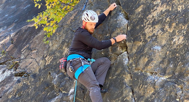 Collin McGee rock climbing