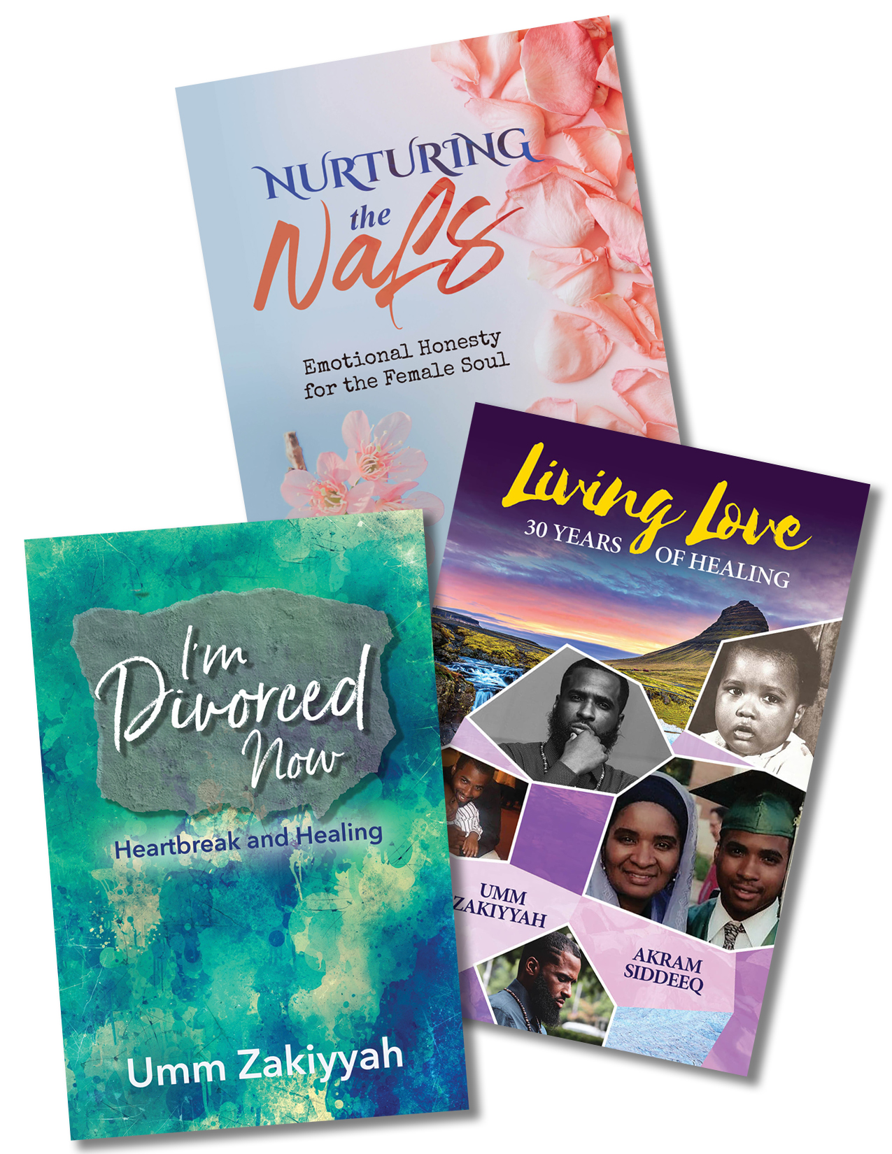 Collage of three UZ book covers: Nurturing the Nafs, Living Love, and I'm Divorced Now