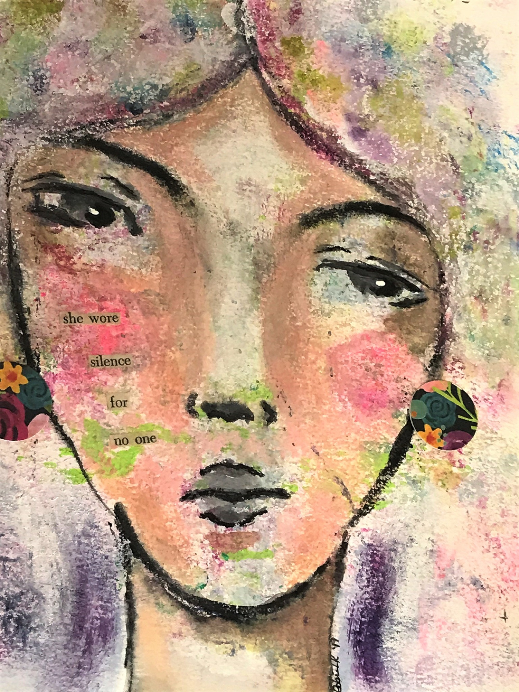 mixed media face of a woman
