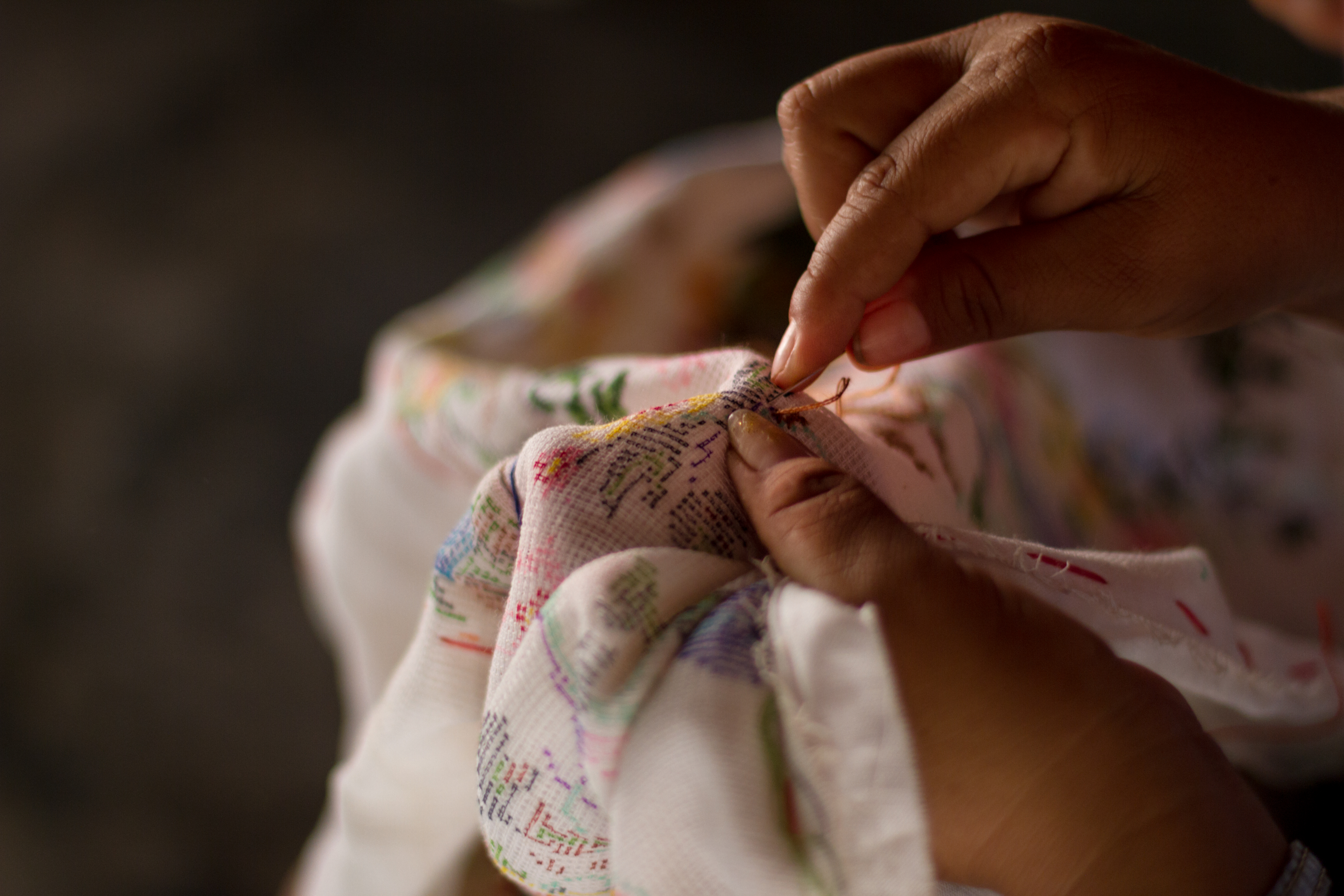 Artisan embroidering fabric