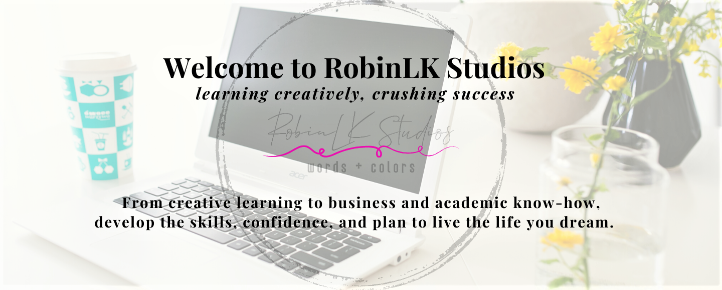 laptop, flowers, and coffee with RobinLK Studios logo