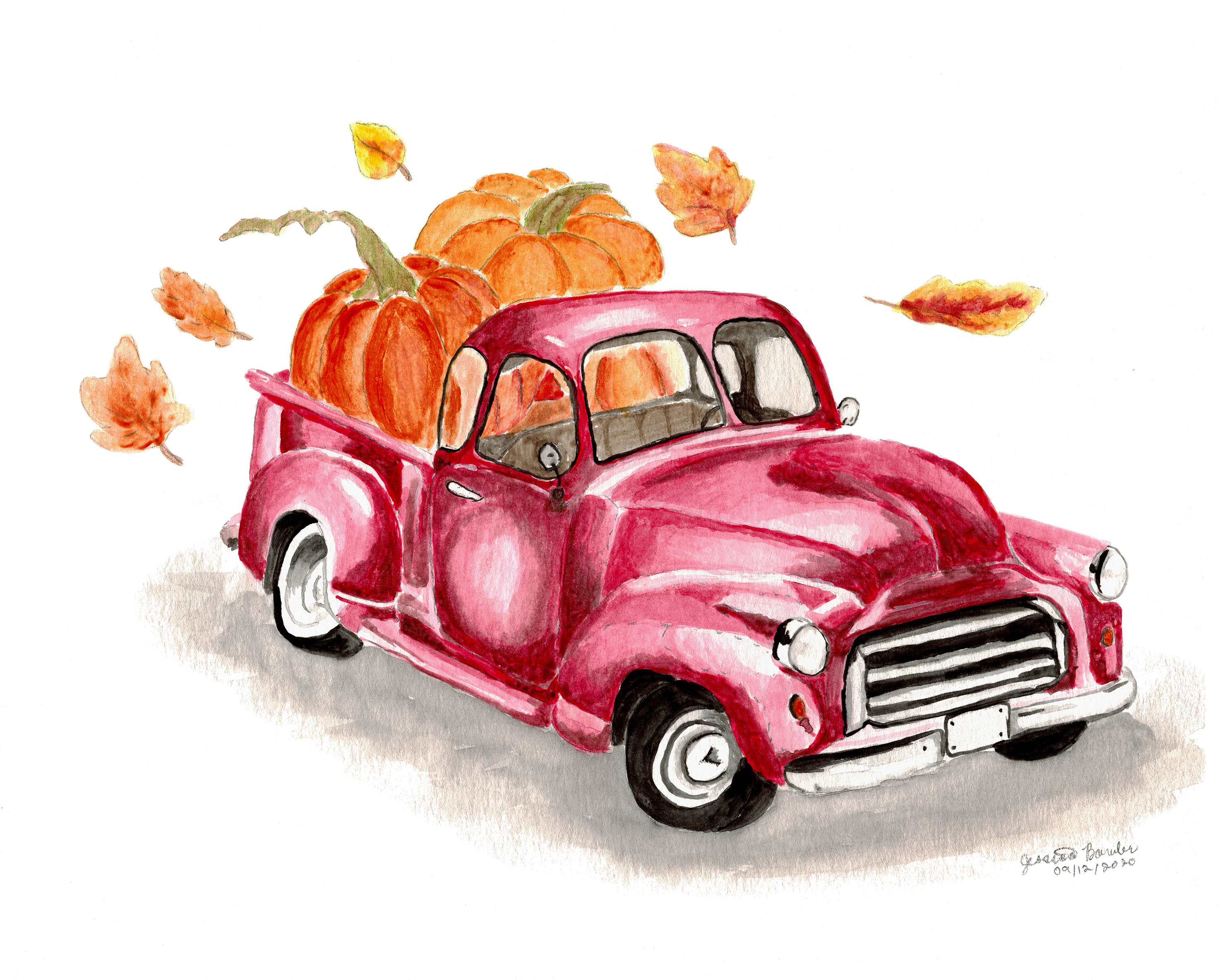 Old Truck with Bed of Pumpkins