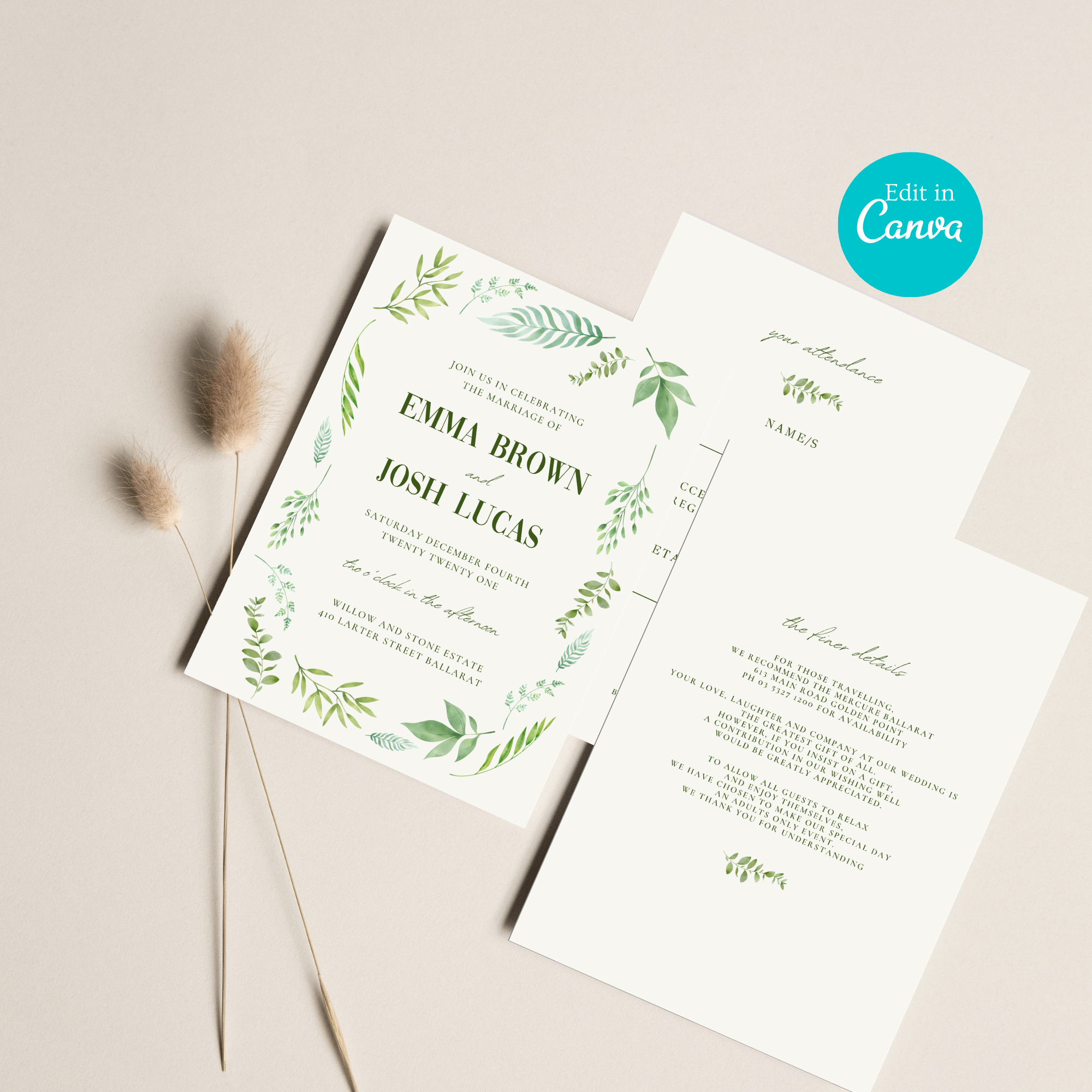 Ivory Haus Wedding invitation set template