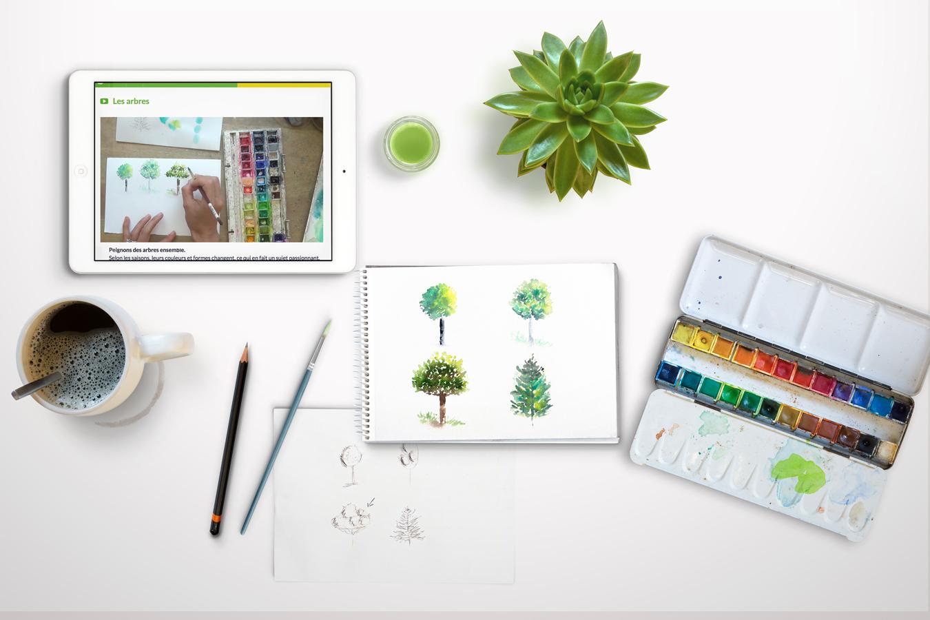 cours aquarelle débutant arbre
