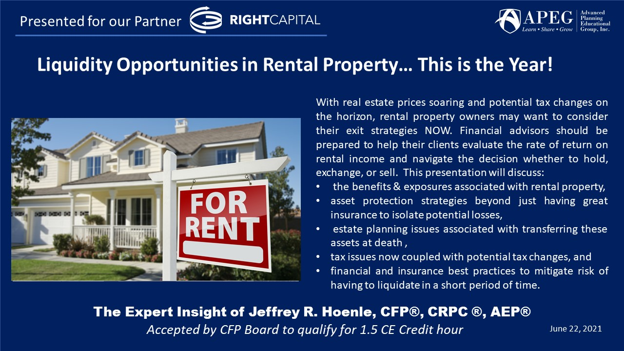 APEG Liquidity Opportunities in Rental Property… This is the Year!