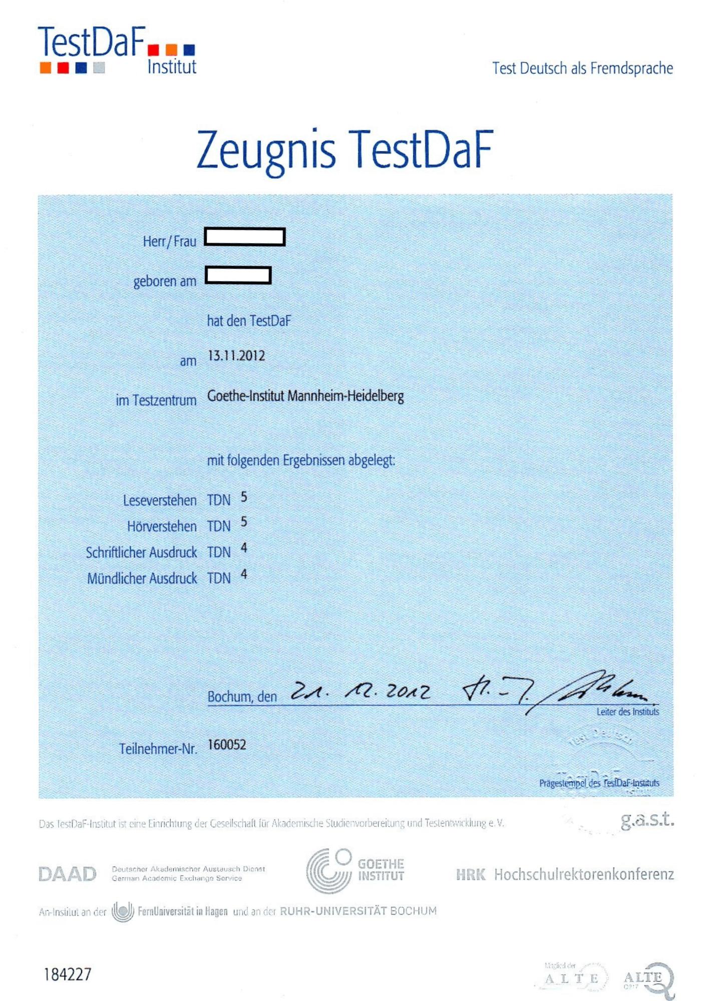 德福 TestDaF 證書