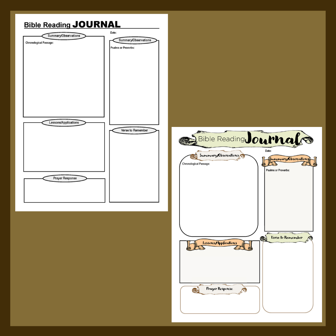 Journal Pages for Reading through Your Bible