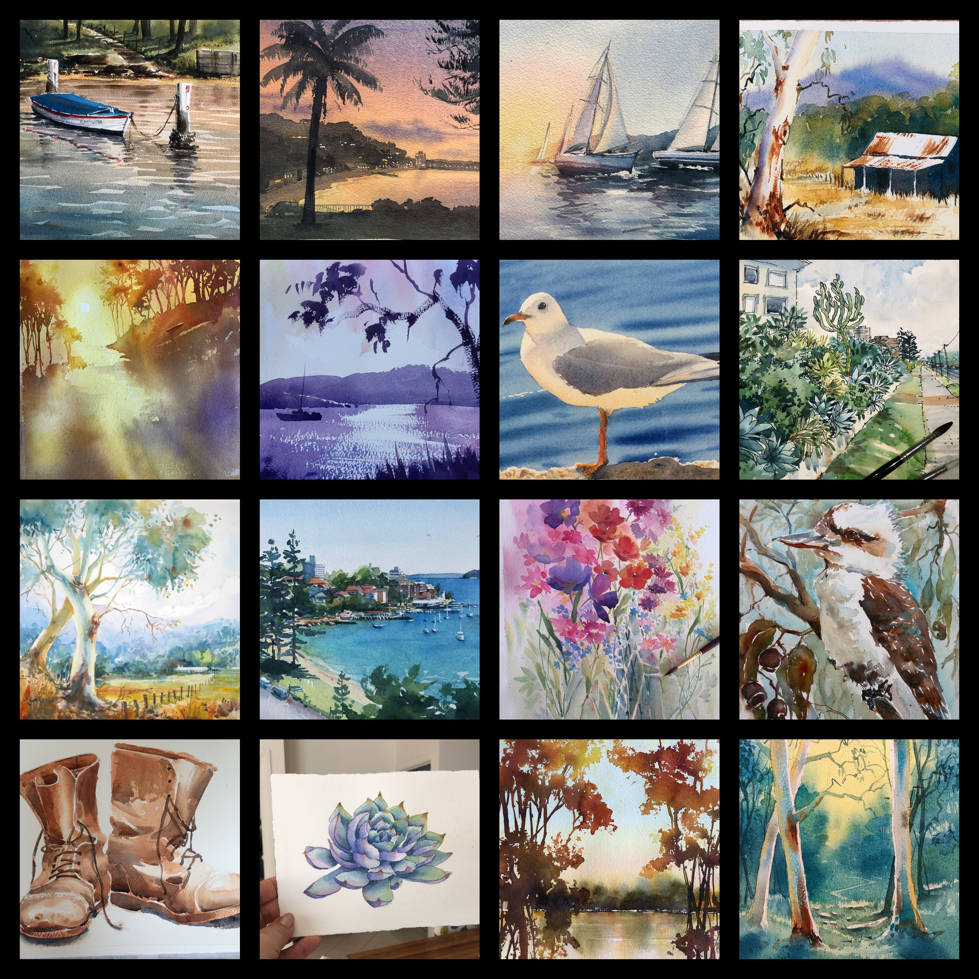 Online Watercolour Classes, tutorial Workshops Online for beginners with Jenny Gilchrist - see some of Jenny's watercolour paintings here.