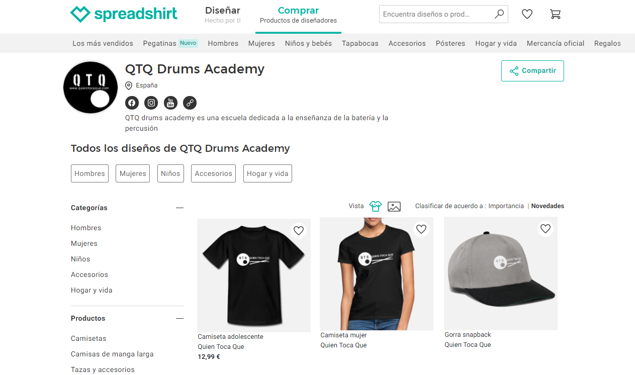 tienda de ropa de la escuela de bateria on line QTQ Academy