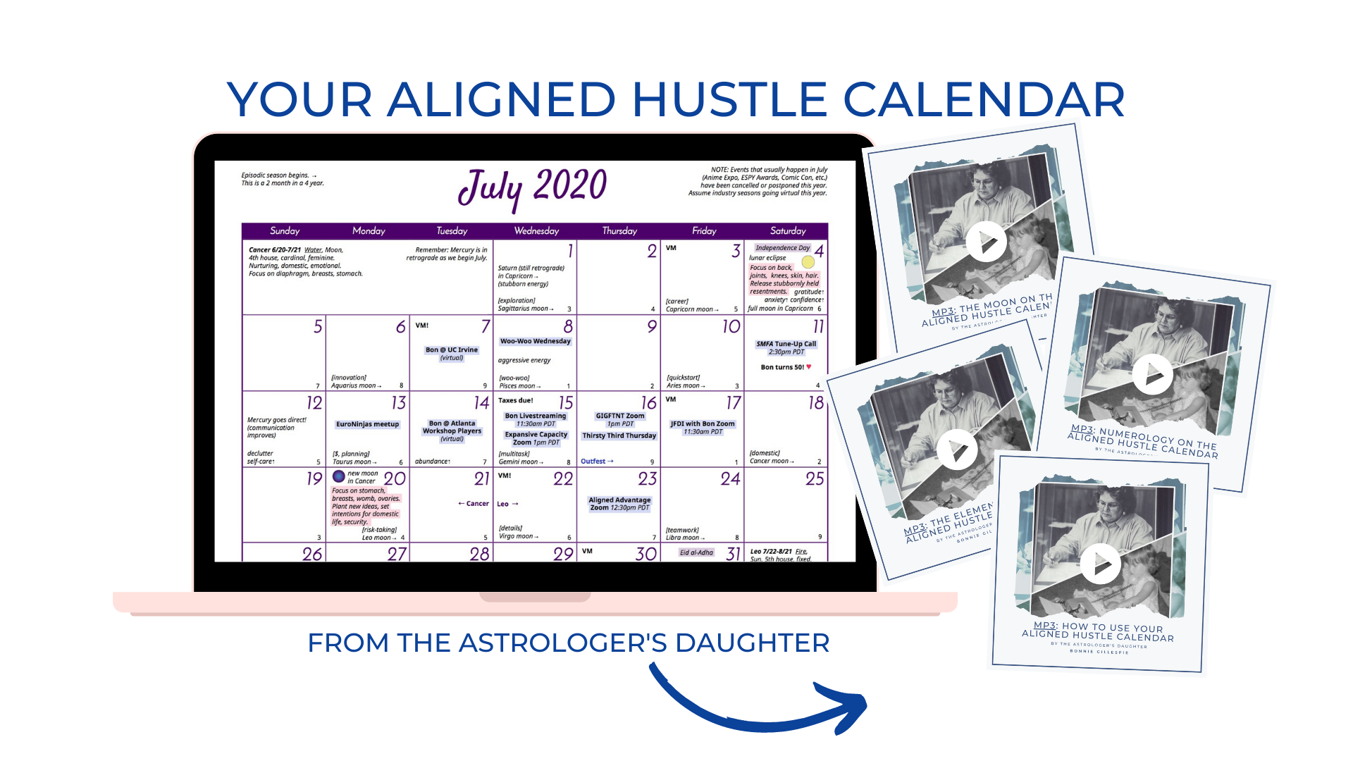 Laptop with Sample Aligned Hustle Calendar from The Astrologer's Daughters and 4 MP3s