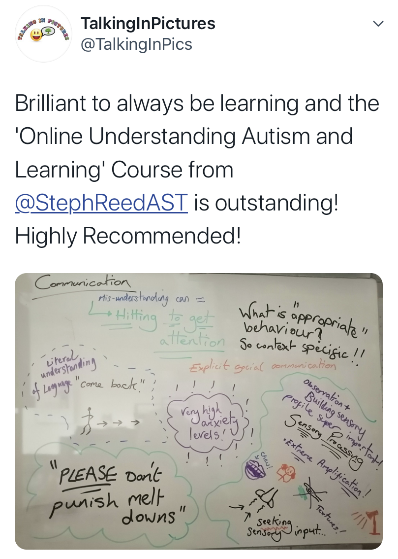 twitter testimonial understanding autism and learning online training