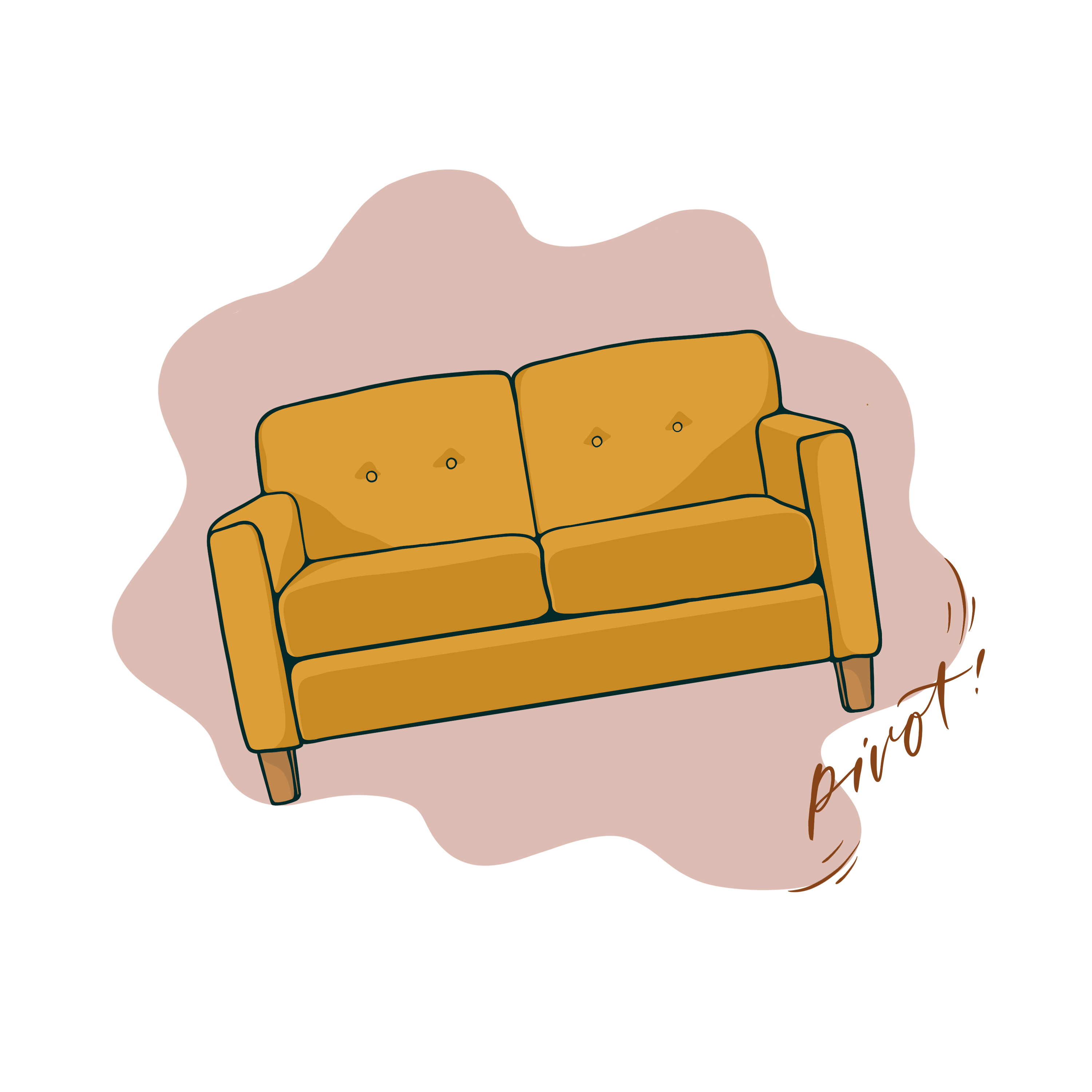 Illustration of yellow couch on an angle