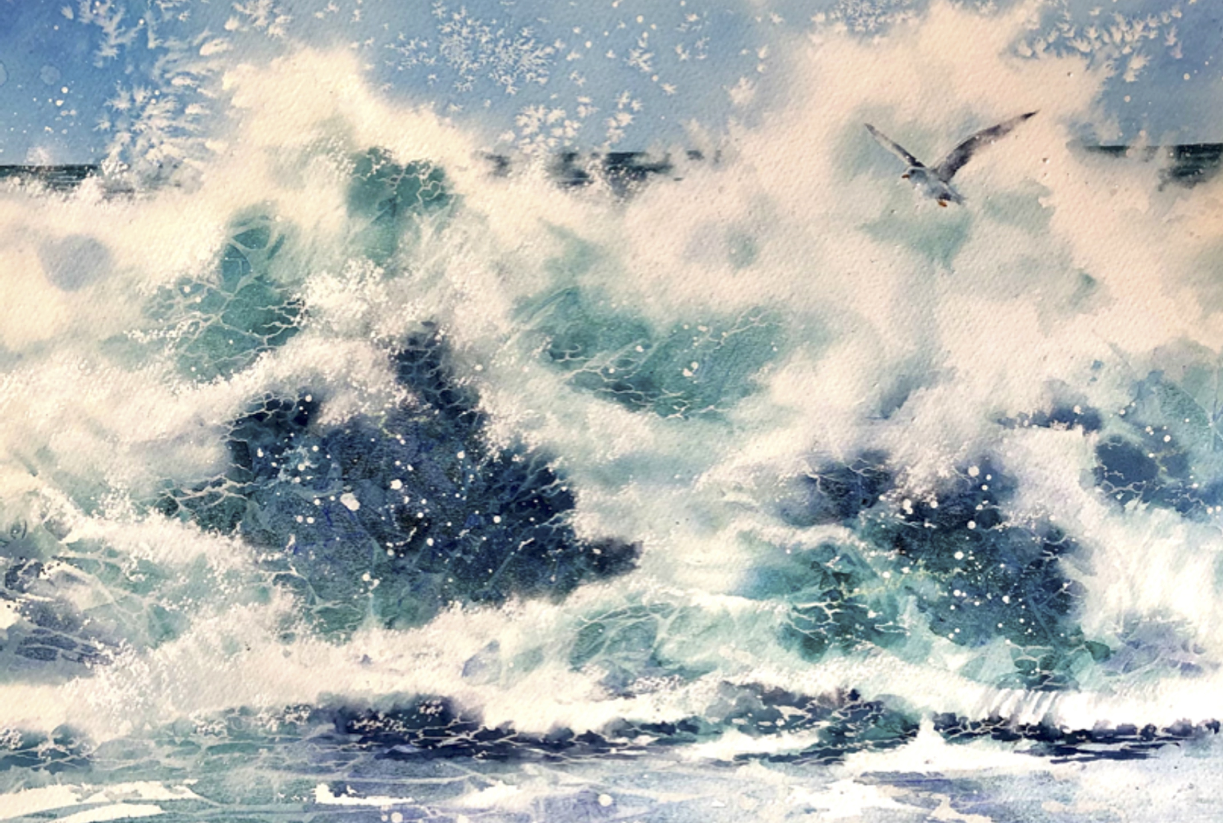 watercolour painting of a wave rolling in to shore.