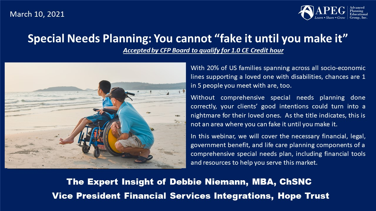 """APEG Special Needs Planning: You cannot """"fake it until you make it"""""""