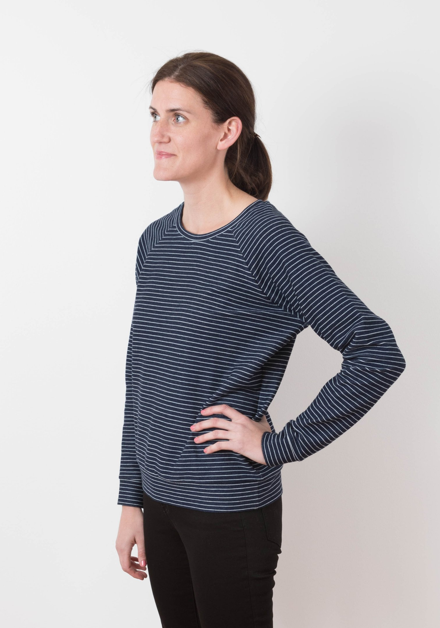 Woman wearing a sweatshirt