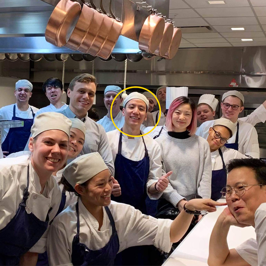 Group photo of the dinner service crew at The Modern with some VIP guests