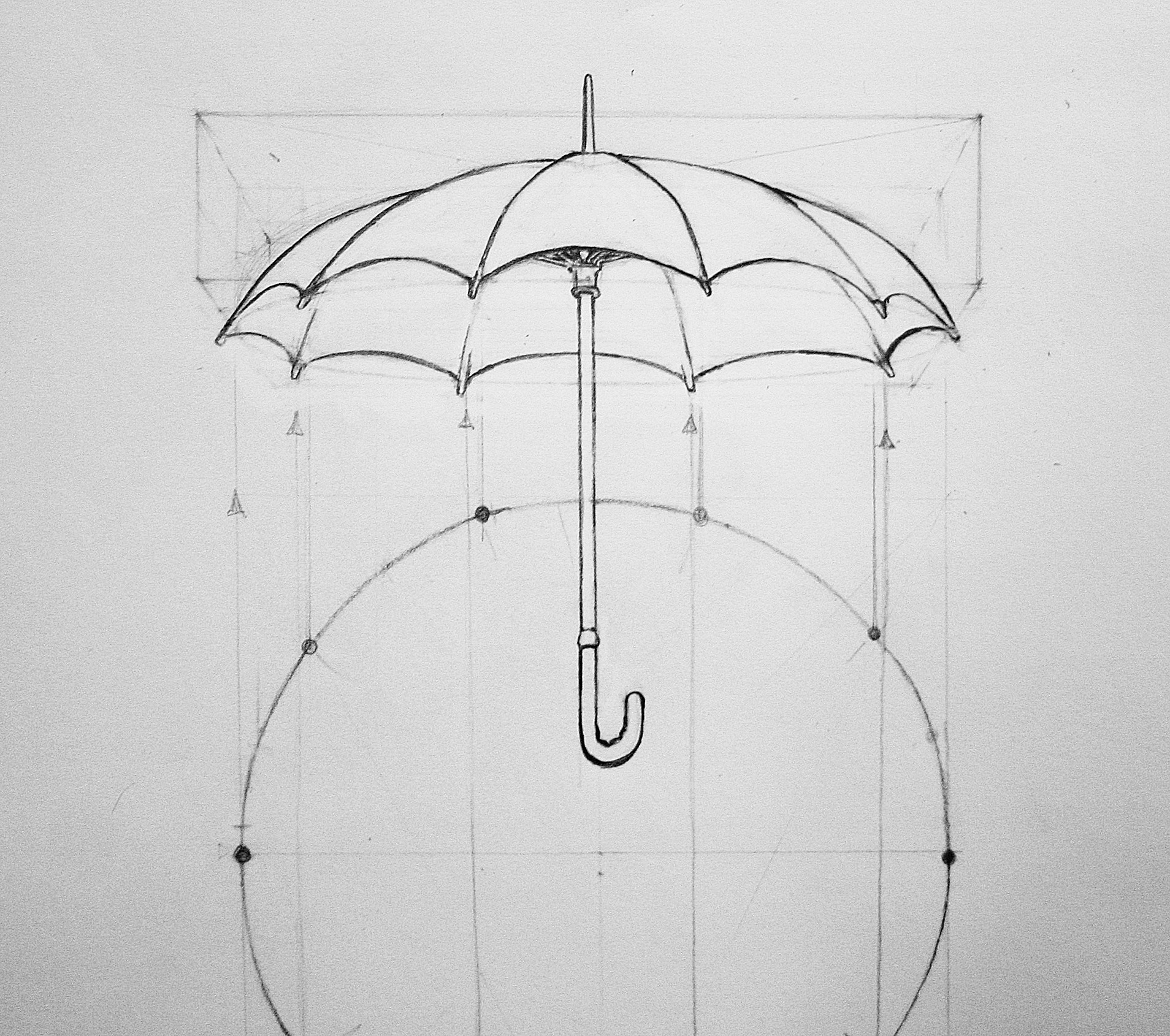 Image of an umbrella drawing using perspective of the circle and projecting it onto the ellipse of the umbrella. Kevin McCain's drawing class on perspective teaches perspective drawing and how to do it.