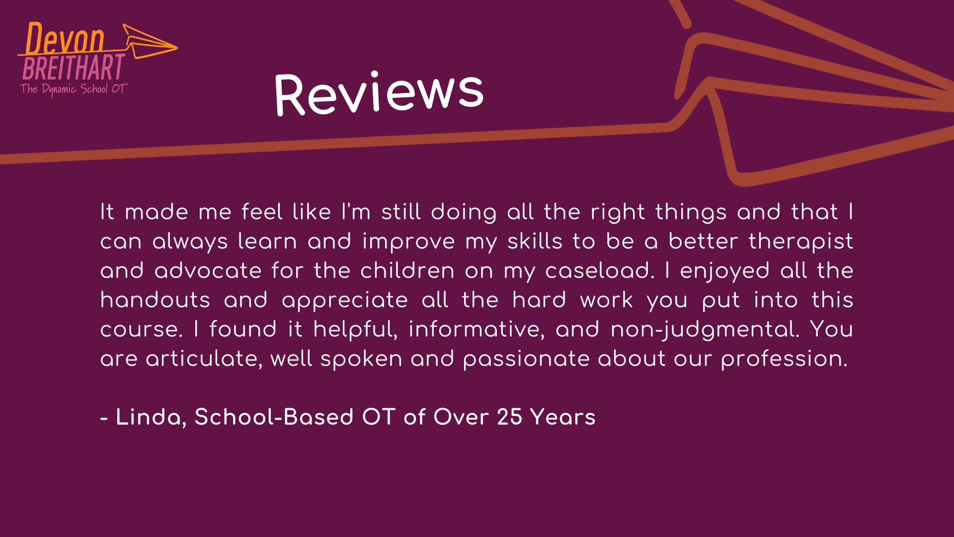 The Dynamic School OT Testimonial