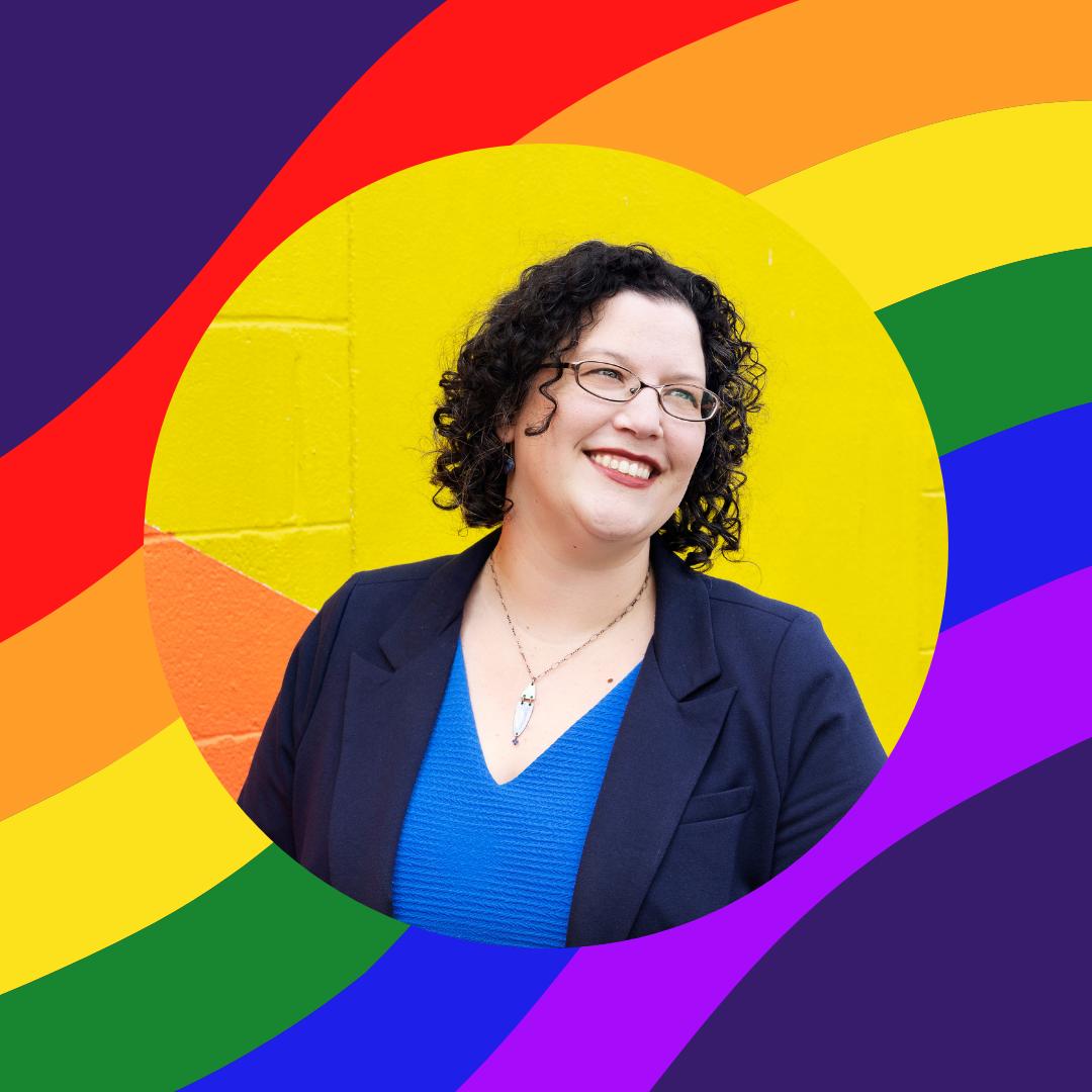 Photo of Sheila M. Wilkinson against rainbow wave background