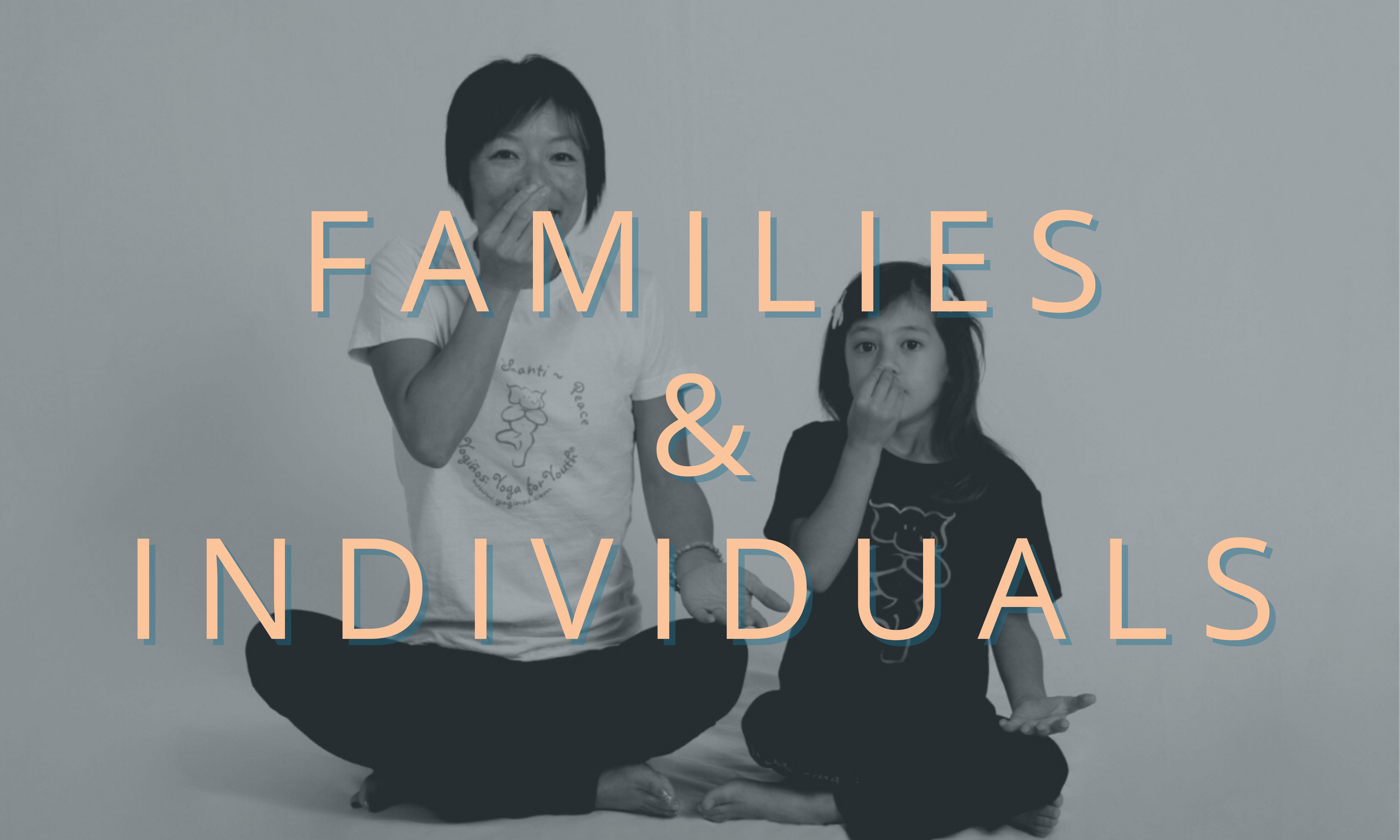 Photo of teacher and student with text - Families & Individuals