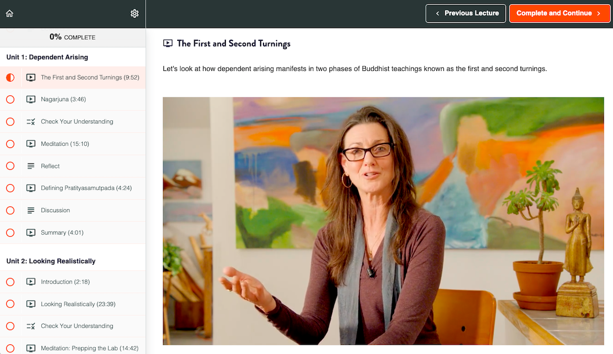 Preview of inside the course showing a teacher's video and the course navigation menu.