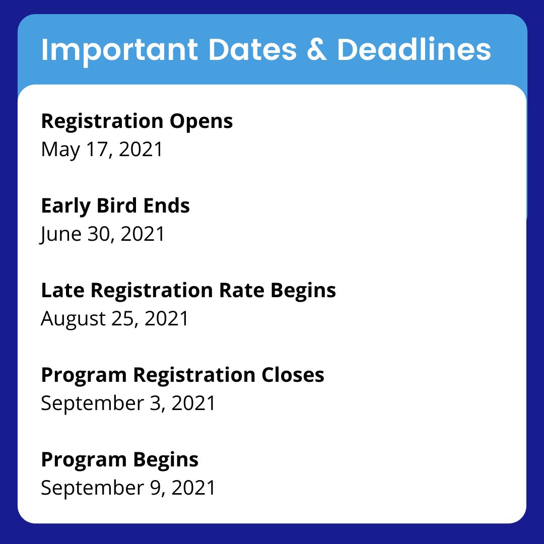 EQ Team Training - Important Dates