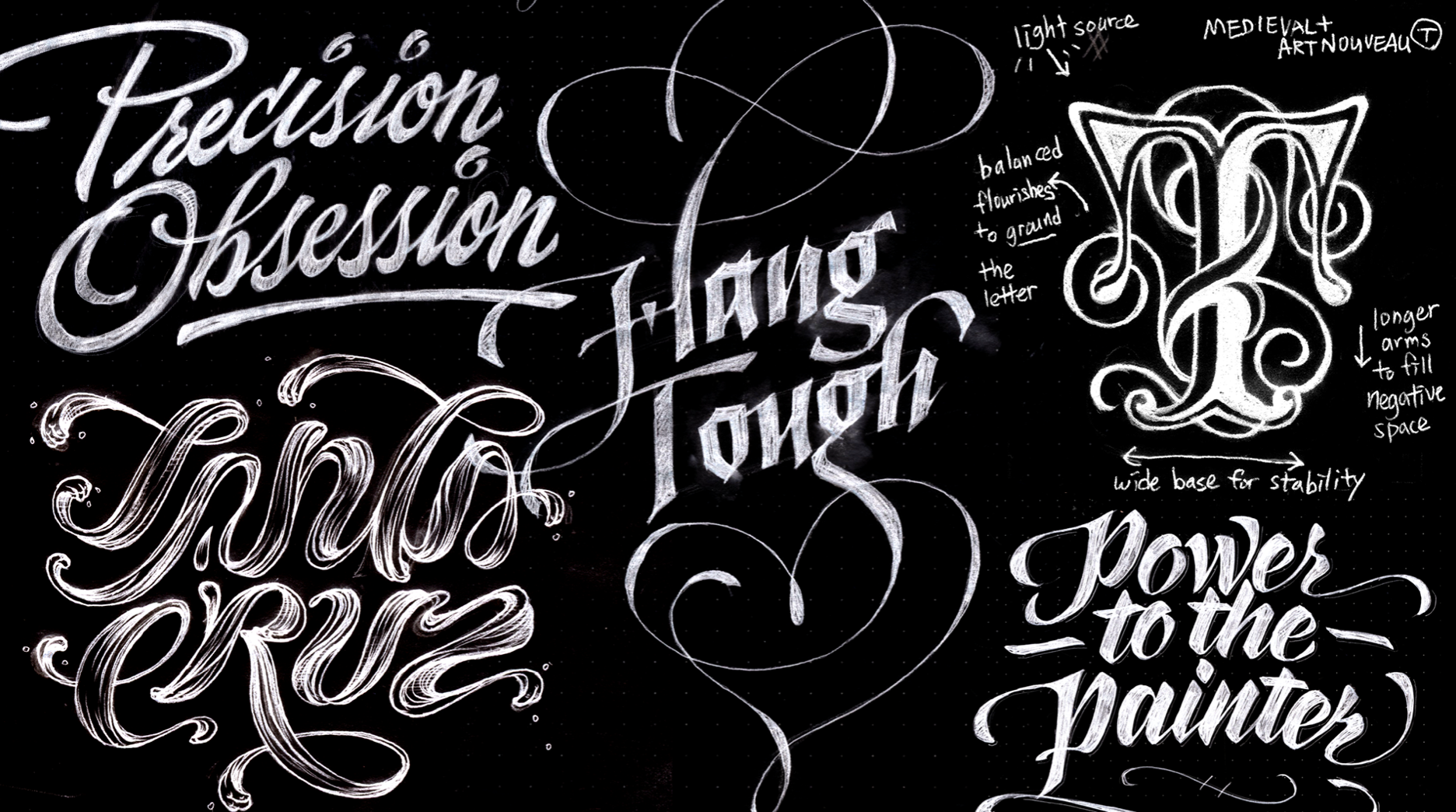 Sketches of different kinds of letterforms on dark background