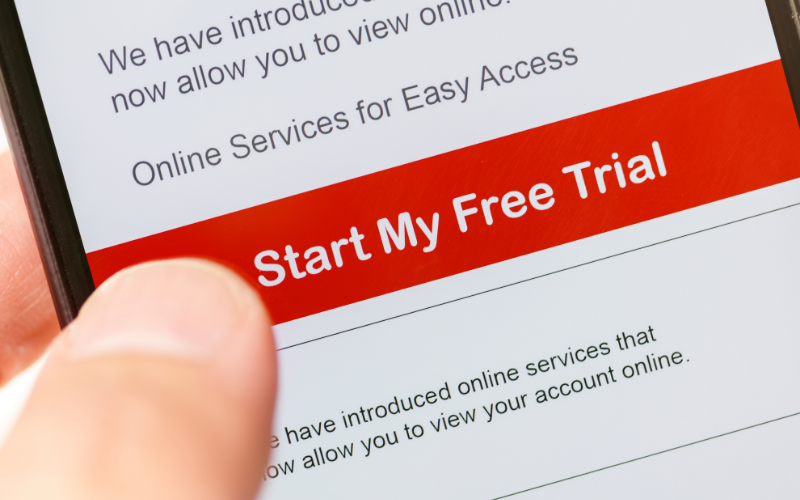"""image of a mobile phone with """"start my free trial"""" on the screen"""