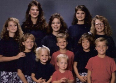 Kristin with her 10 siblings. She is the oldest.