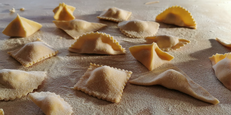 Stuffed homemade pasta ravioli tortellini