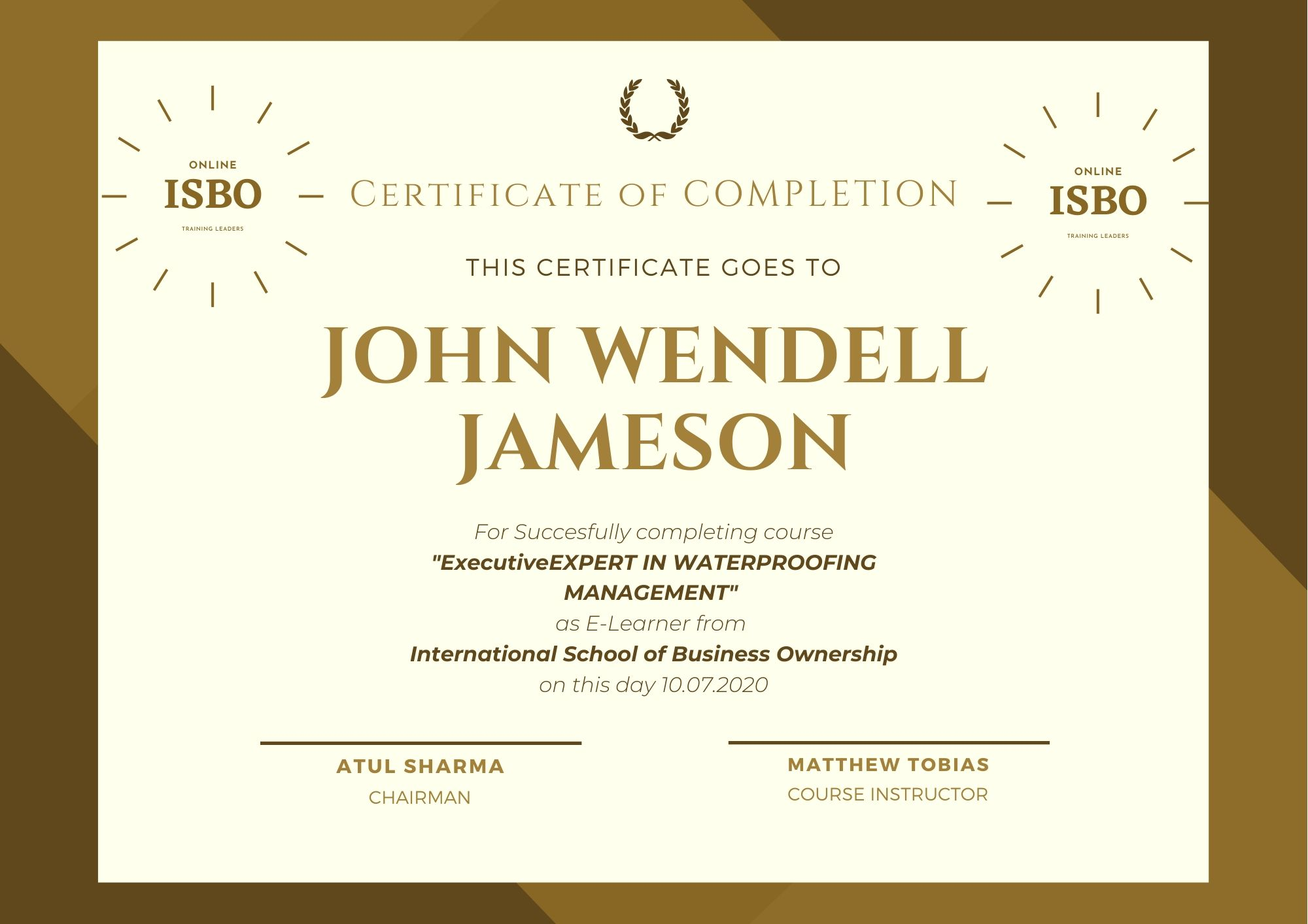 All our students who complete the course get certificate of Completion with ISBO Seal on it.   ISBO Seal is a trusted recognition in the Construction Industry and we honor our students as merit holder towards a better career.