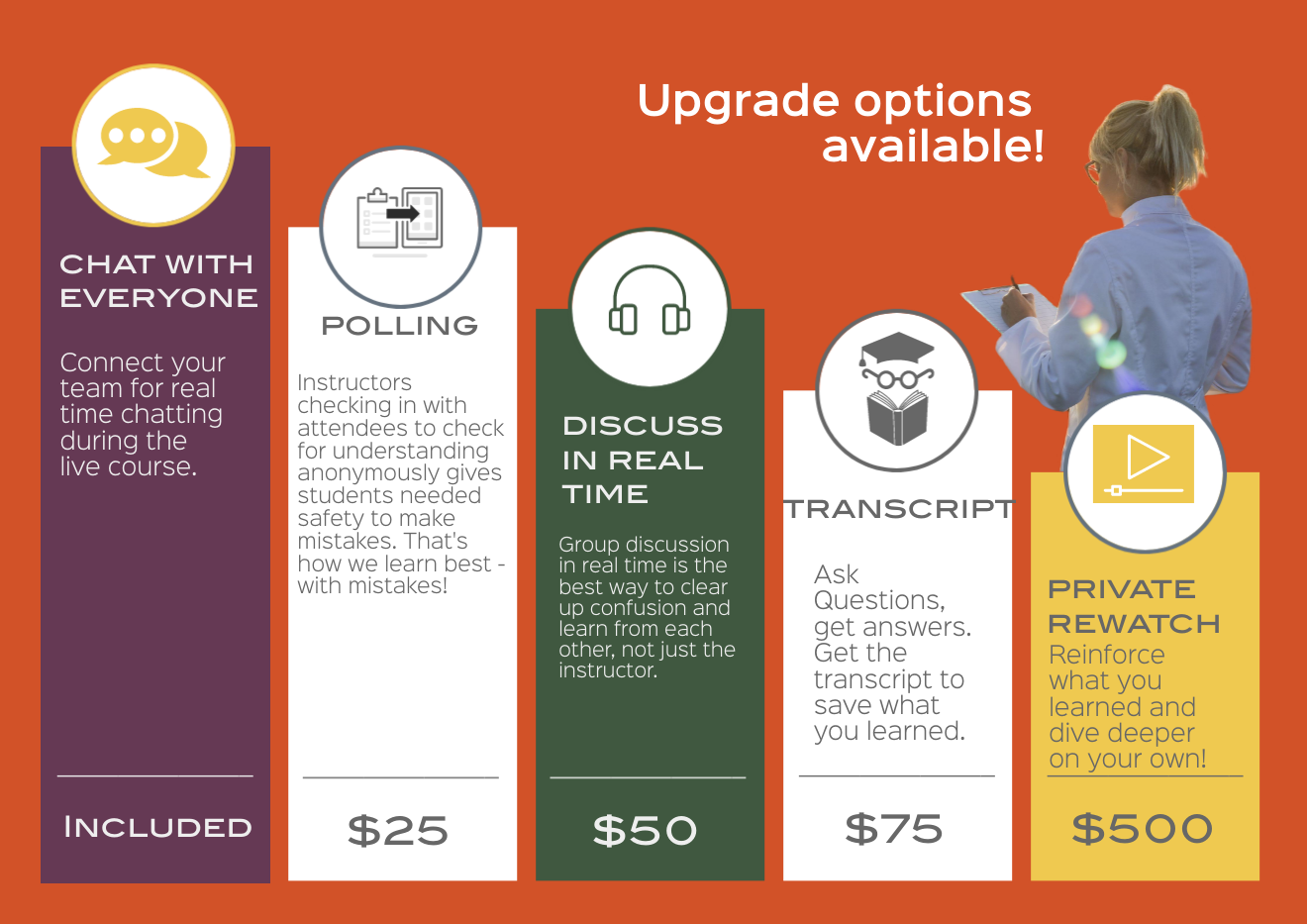 INSTRUCTOR LED TOPICS & UPGRADES AVAILABLE
