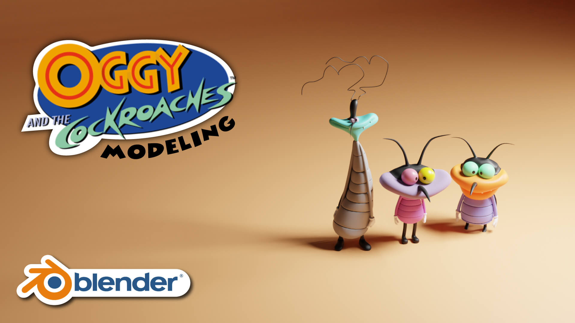 3D Oggy And The Cockroaches Blender Course Academy Modeling