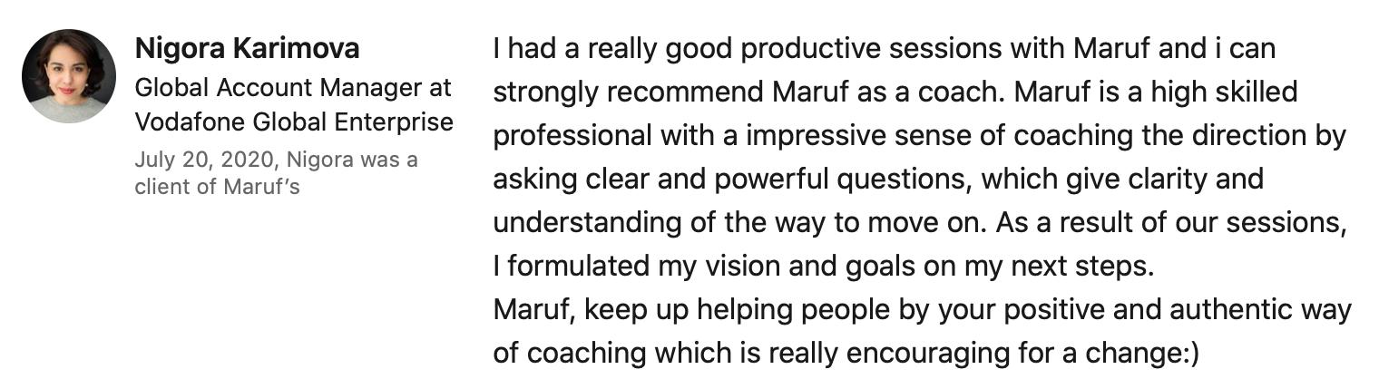 Nigora Karimova reviews Maruf Yusupov Infinite Game Coaching