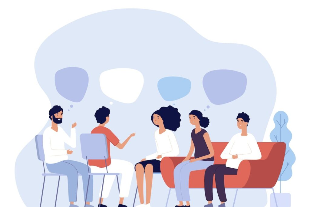 People talking in a group
