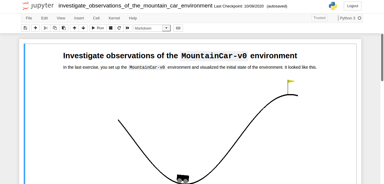 An exercise from the course related to the MountainCar-v0 environment in the form of Jupyter Notebook