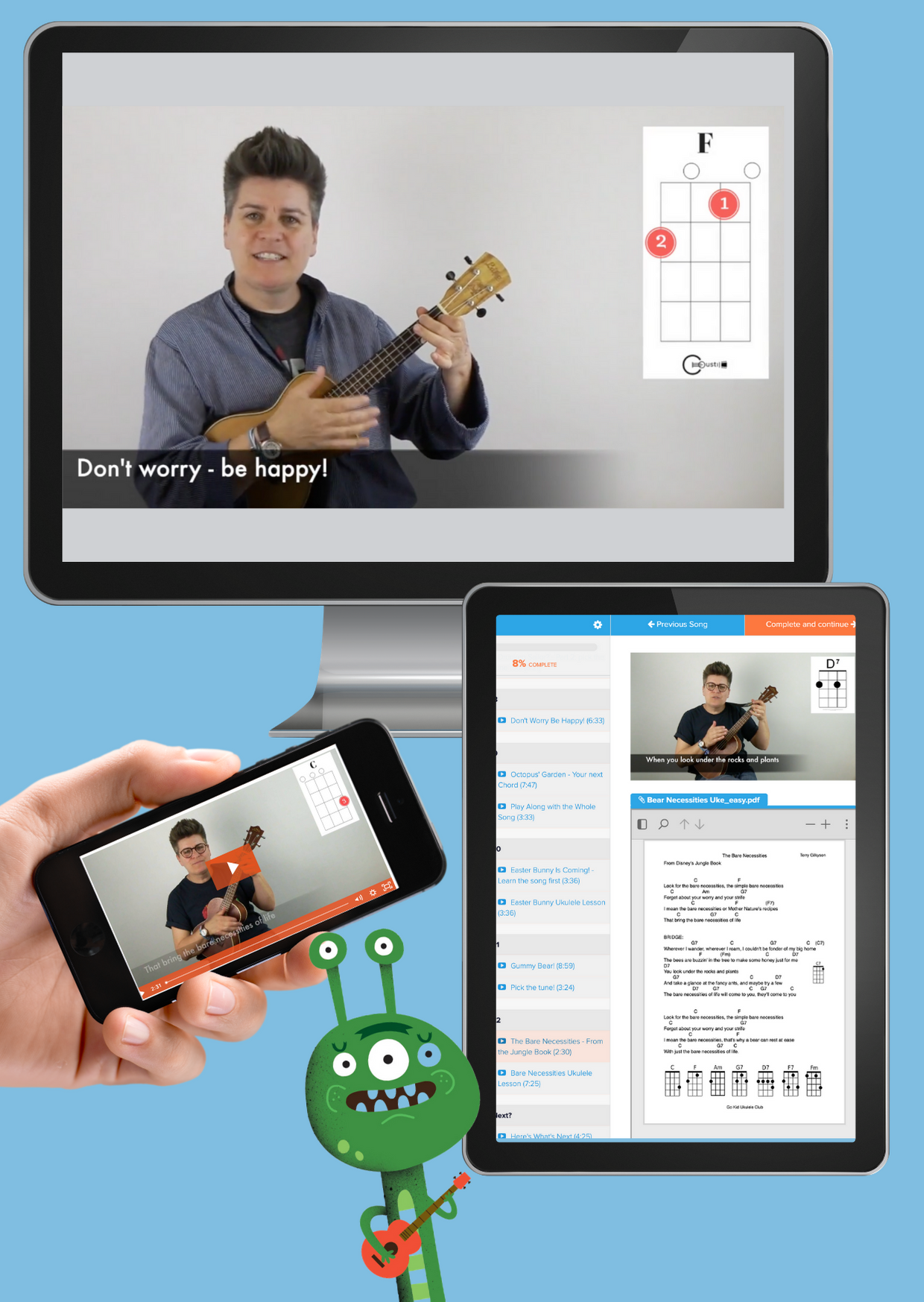 computer, tablet and iphone screenshots of uke lessons