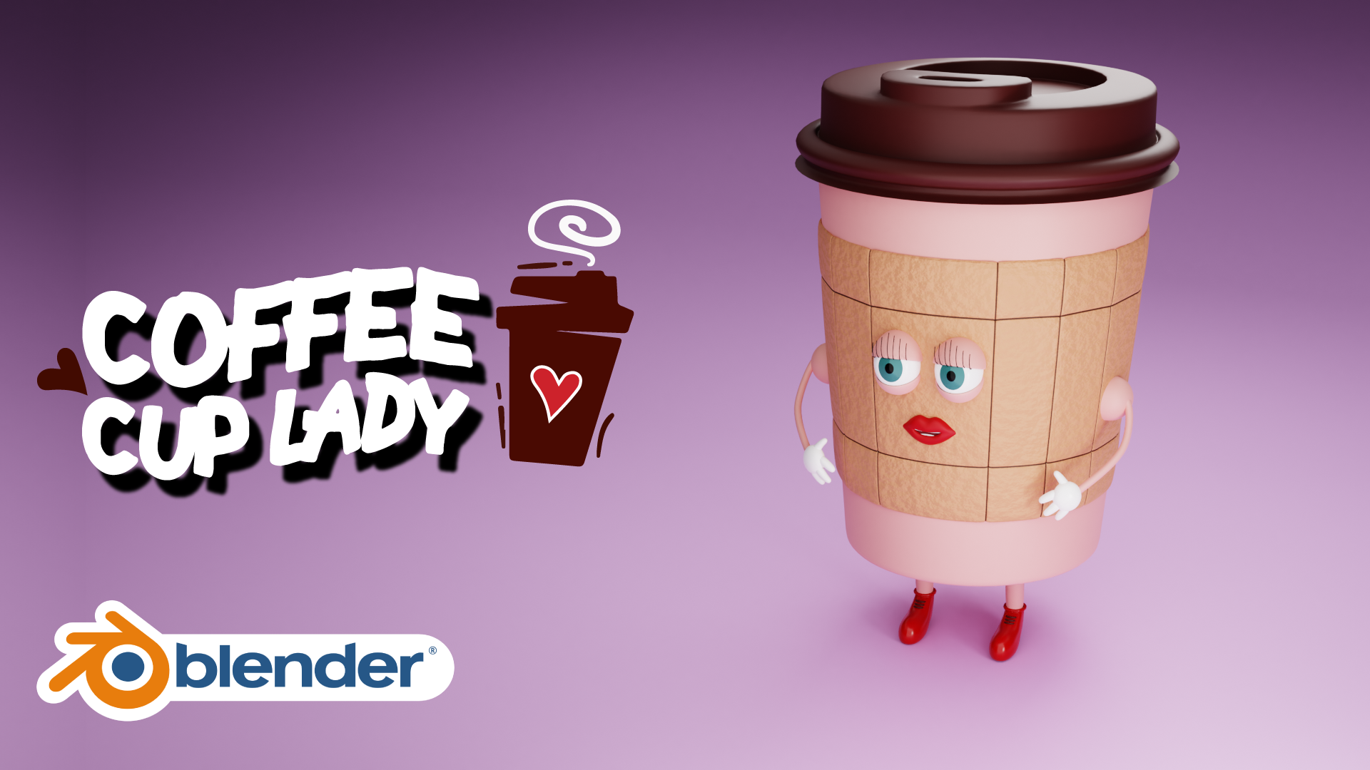 Coffee Cup Lady 3D Character Illustration Blender Course Academy