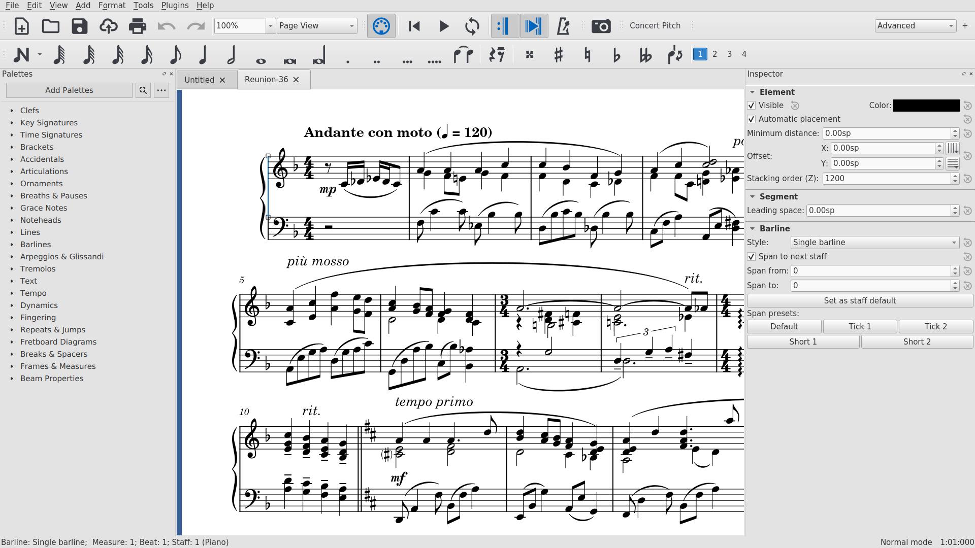 Sheet music viewed in MuseScore