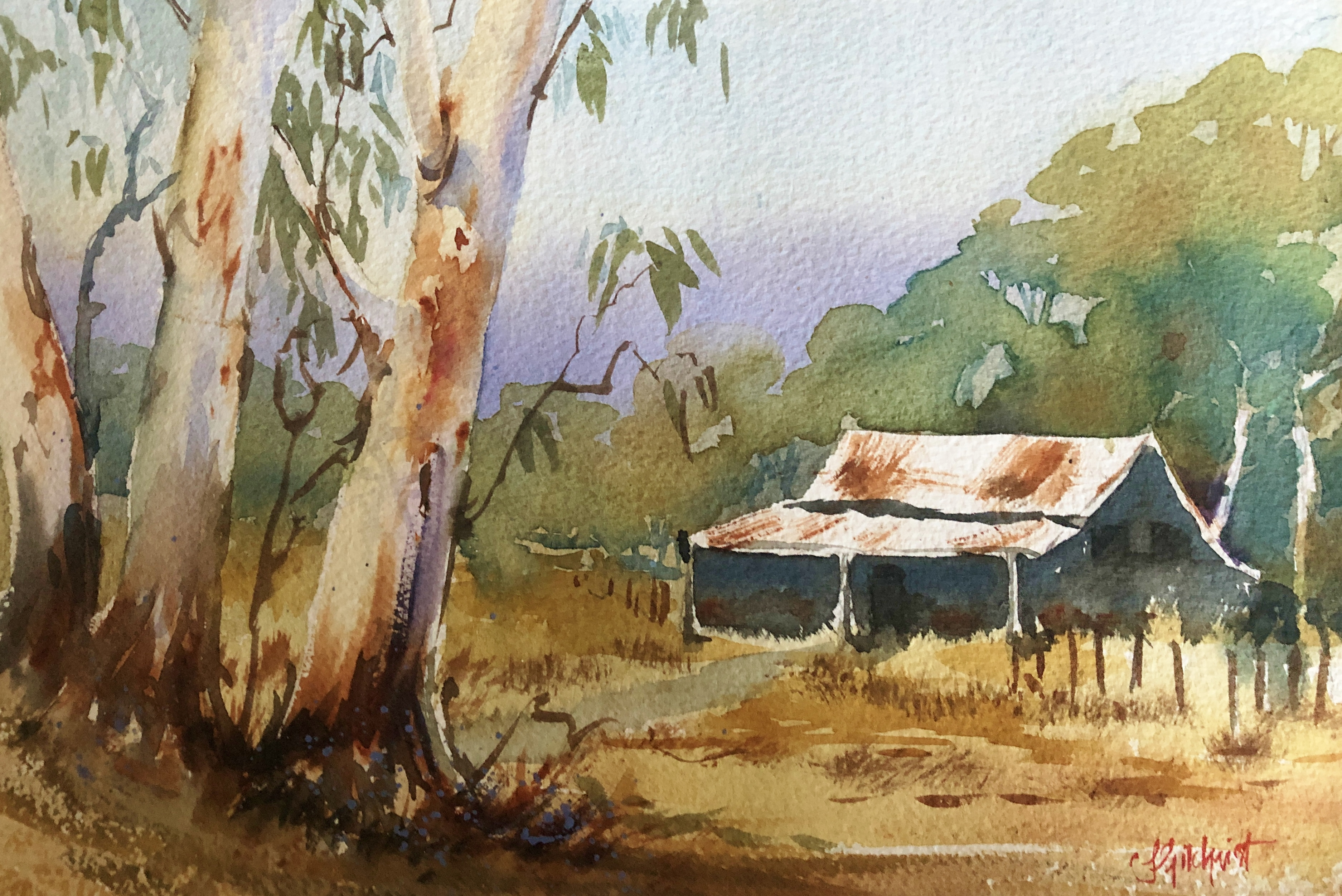 Watercolour Painting done in Online course of Australian Bush shack, by Jenny Gilchrist and Northern Beaches Watercolour.